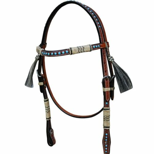 Western Brown Leather Hand Tooled Brow band Style Headstall with Rawhide Braids