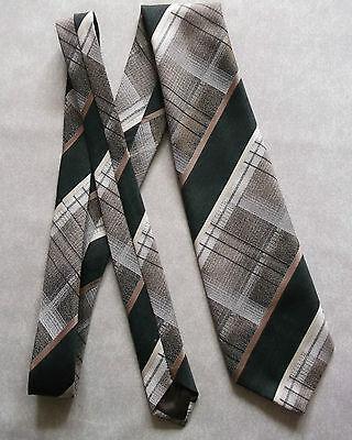 Vintage Cravatta Dunn & Co Da Uomo Cravatta Moda Retrò Verde Scuro Marrone Controllato-mostra Il Titolo Originale