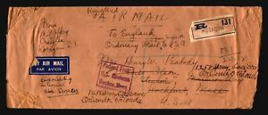 India-1939-Censor-Cover-to-USA-Registered-Much-Creasing-Z16252