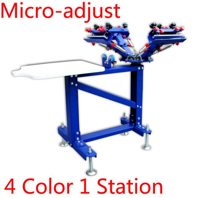 4 Color 1 Station Micro-adjust Screen Printing Printer Single-rotary ...
