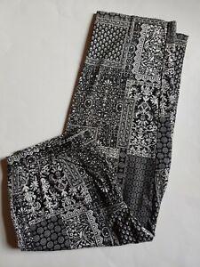 Talbots Crop Pants Capri Stretch Womens Sz 8 Petites Black White Patchwork