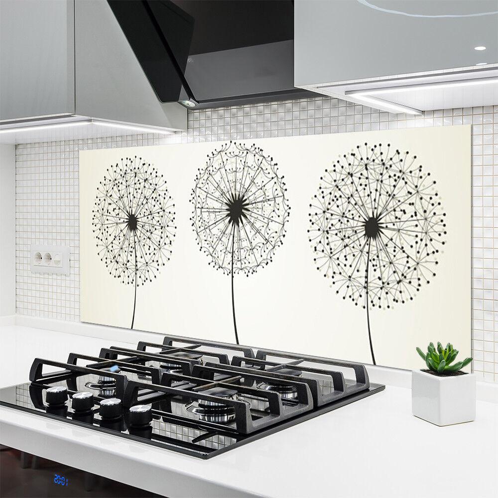 Crédence Crédence Crédence de cuisine en verre Panneau 140x70 Floral Fleurs 047212