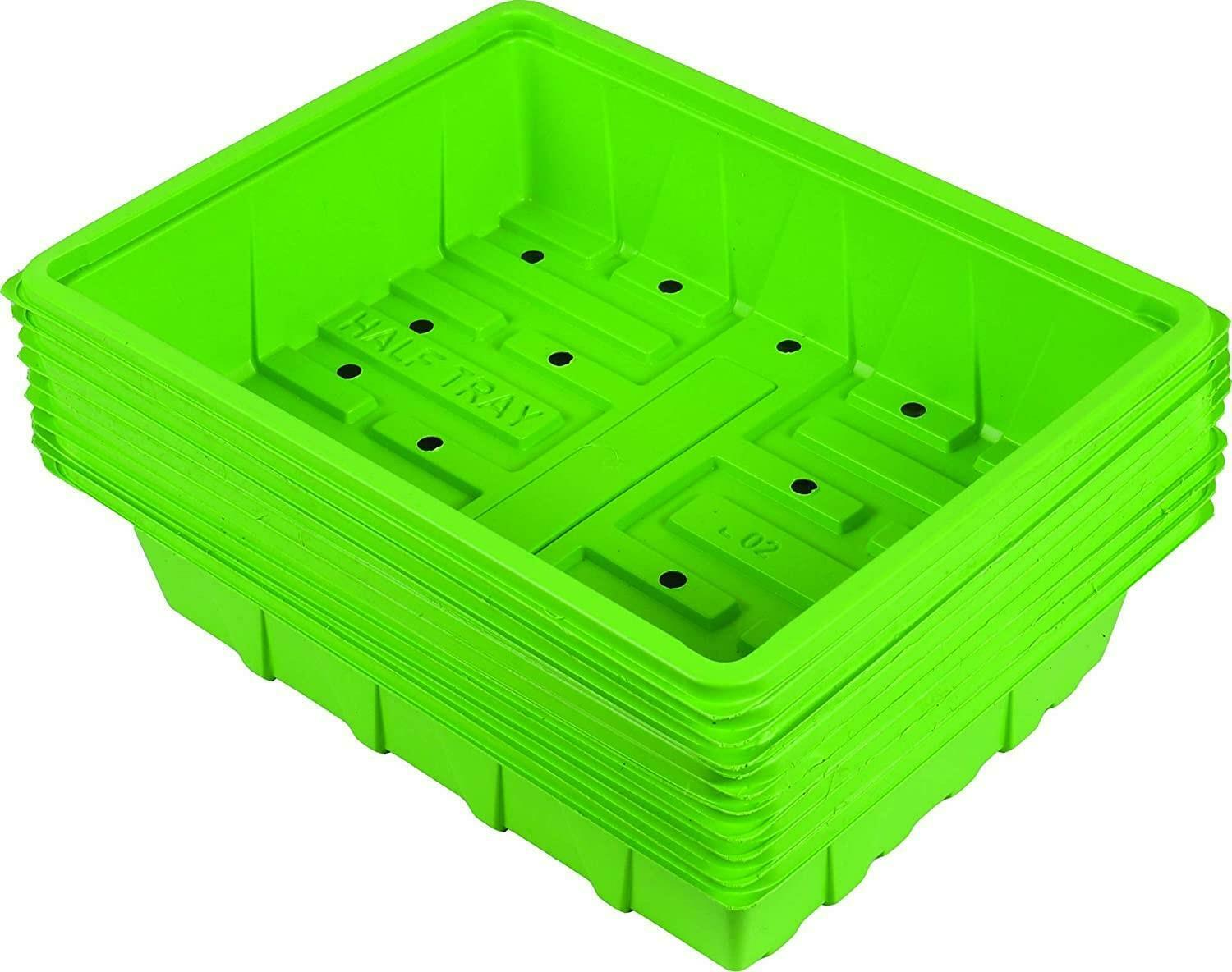 Outdoor Gardening 10 Pack Half Size Plastic Seed Trays with Drainage Holes