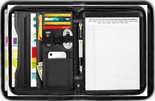 Moko Zippered Padfolio Portfolio Folder Professional Business Pu Leather