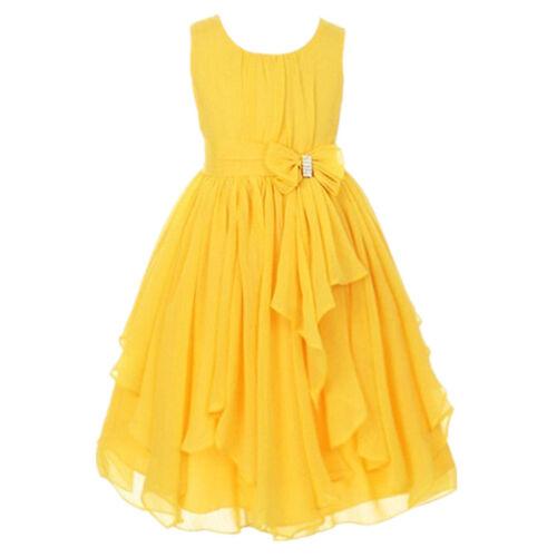 Flower Girl Kid Princess Irregular Chiffon Dress Party Pageant Wedding Dresses