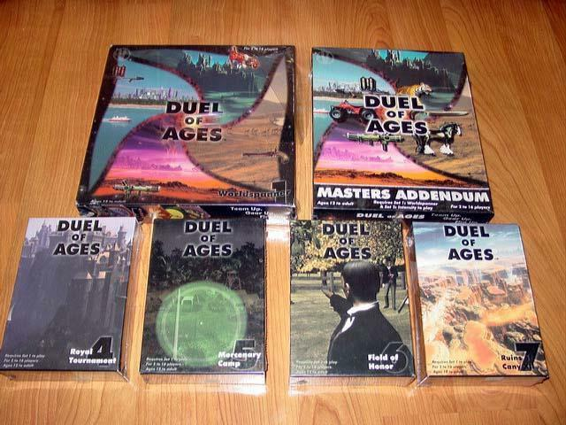 Lot of DUEL OF AGES - Worldspanner 1 + Masters Addendum & Exp. 4, 5, 6, 7 (NEW)