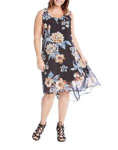 NEW-Karen-Kane-Plus-Size-Floral-Print-Hi-Low-Lined-Sleeveless-Dress-2X
