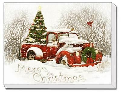 """/""""Vintage Christmas Tree Truck/"""" LED Lighted Canvas Printed ID 3937268"""