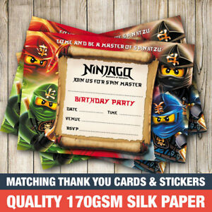 20 x Ninjago Birthday Party Invitations Boy Ninjago Invites eBay