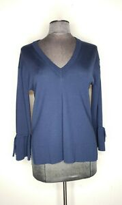 J.Crew Women's Bell Sleeve Merino Wool Dark Blue V-Neck Sweater Size S