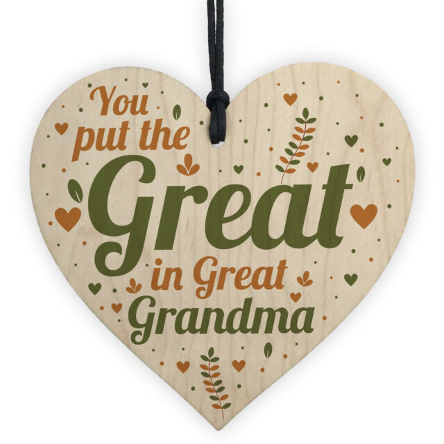 Great Grandma Birthday Christmas Card Gifts Wooden Heart Gift From Grandchildren For Sale Online
