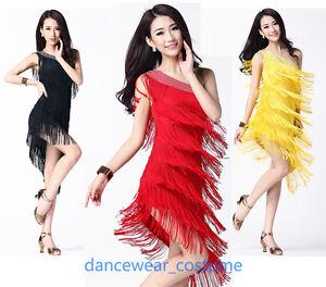 Ladies-Party-Ballroom-Latin-Salsa-Dance-Dress-Tango-Samba-Fringe-Tassel-Skirt-8C