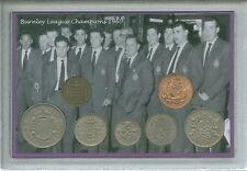 BURNLEY FOOTBALL LEAGUE CHAMPIONS Retrò Vintage MEDAGLIA sostenitore Fan Set Regalo 1960
