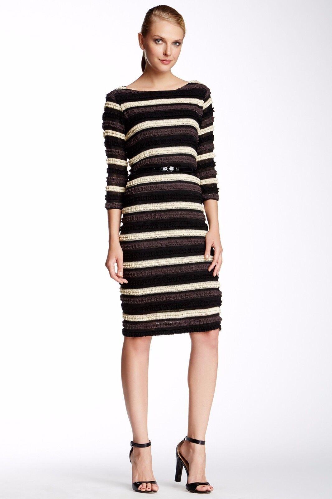 New Sharagano Women Stretch Knit Ruffled Dress Multi colorSize 10