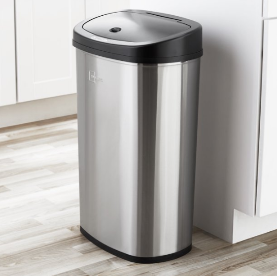 Motion Sensor Trash Can 13 Gallon Touchless Automatic Black Stainless Steel