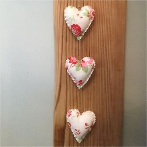 Tremendous Details About Handmade Fabric Set Of Three Shabby Chic Vertical Hanging Hearts Home Interior And Landscaping Ponolsignezvosmurscom