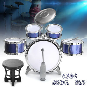 5 PCS Junior Child Starter Complete Drum Set Kit+2 Sticks+Cymbal + Stand + Stool