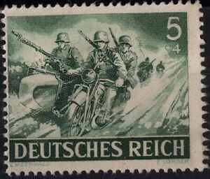 Stamp-Germany-Mi-833-Sc-B220-1943-WW2-3rd-Reich-Wehrmacht-Motorcycle-Riders-MNG