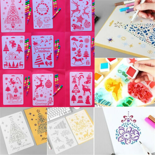 Christmas Layering Stencils Paper Card Template For Walls Painting Scrapbooking