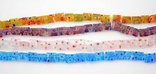 X4 Strands Square Millefiori Glass Beads