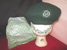 Vintage Girl Scout wool green hat beret cap uniform made in France sz. M - w/bag