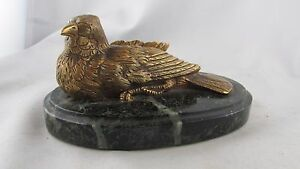 Art Sculptures Devoted Antik Bronze Golden Statuette Vogel Mesange Durch Moigniez Sockel Marmor ära 00 Wide Selection;