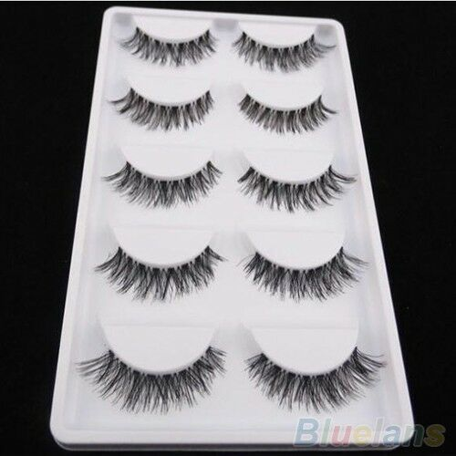 100% Mink 5Pairs Natural Thick False Fake Eyelashes Eye Lashes Makeup Extension