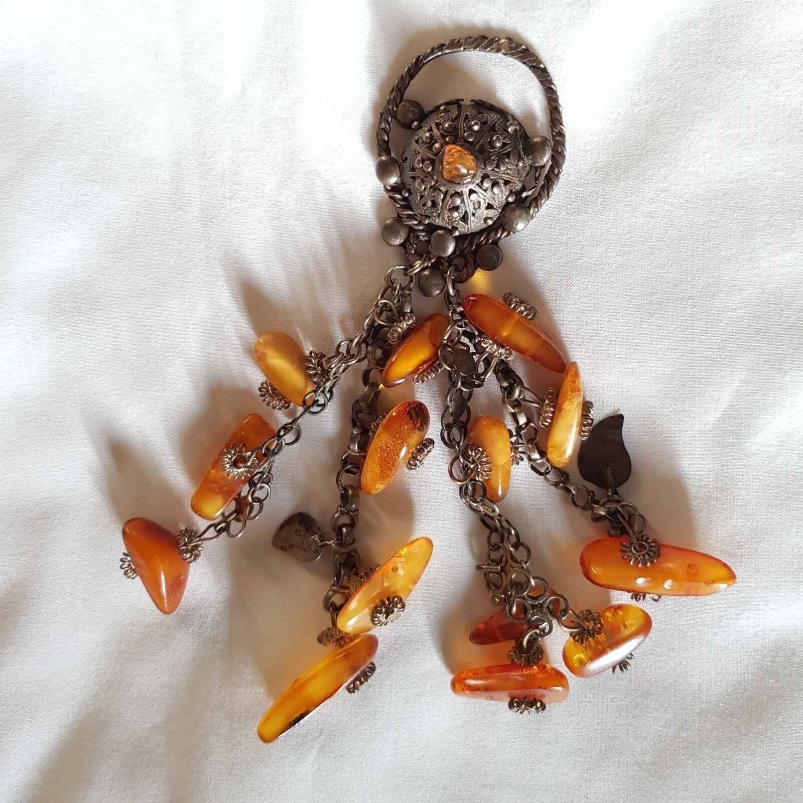 Antique pendaison ethnique fait main en laiton Pendentif avec pendaison Antique Amber Nuggets 95ac85