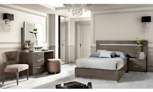 Details zu Jugendzimmer Schlafzimmer Komplett Grau Hochglanz Modern  Italienische Möbel