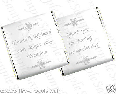 ** 90 PERSONALISED CHOCOLATE WEDDING/ANNIVERSARY FAVOURS -  SNOWFLAKE DESIGN **
