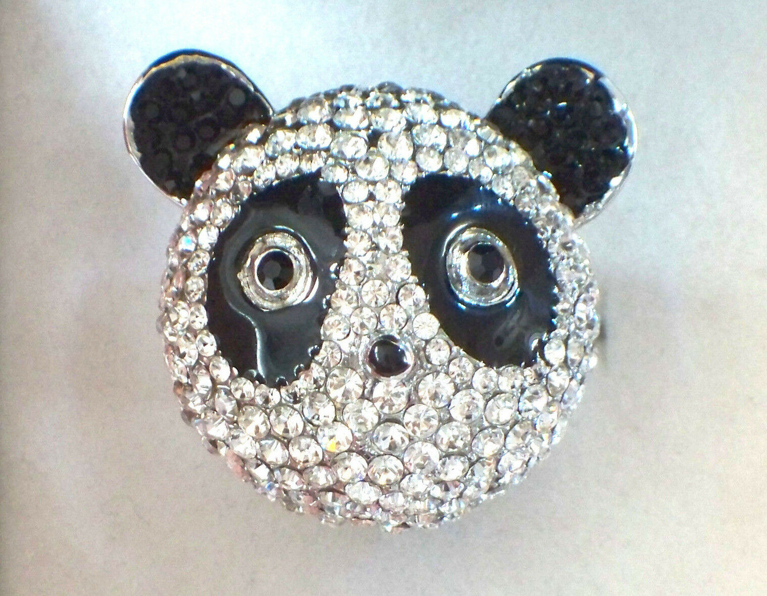 BUTLER & WILSON LARGE CRYSTAL SET PANDA RING IN BOX