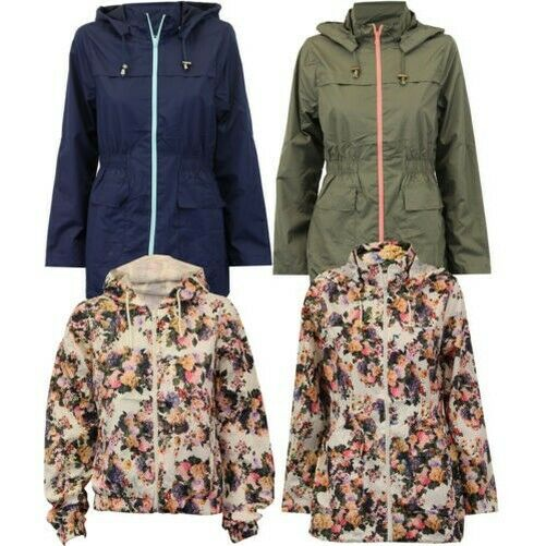 Ladies Jacket Brave Soul Womens Coat Hooded Fish Tail Kagool Floral Lightweight