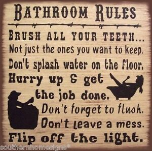 Western Bath Rules Rustic Primitive Country Wood Sign Home