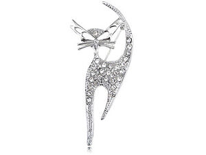 Siamese-Cat-Clear-Crystal-Rhinestone-Whiskers-Kitty-Shiny-Silver-Tone-Pin-Brooch