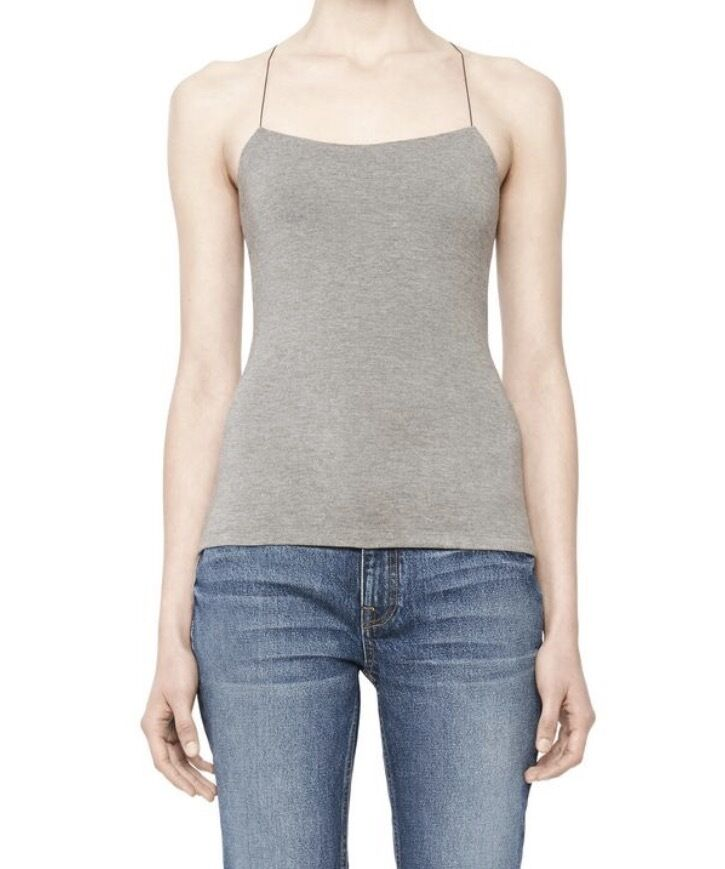 T by Alexander Wang damen's Top NEW Stretch Modal Camisole Heather grau Large