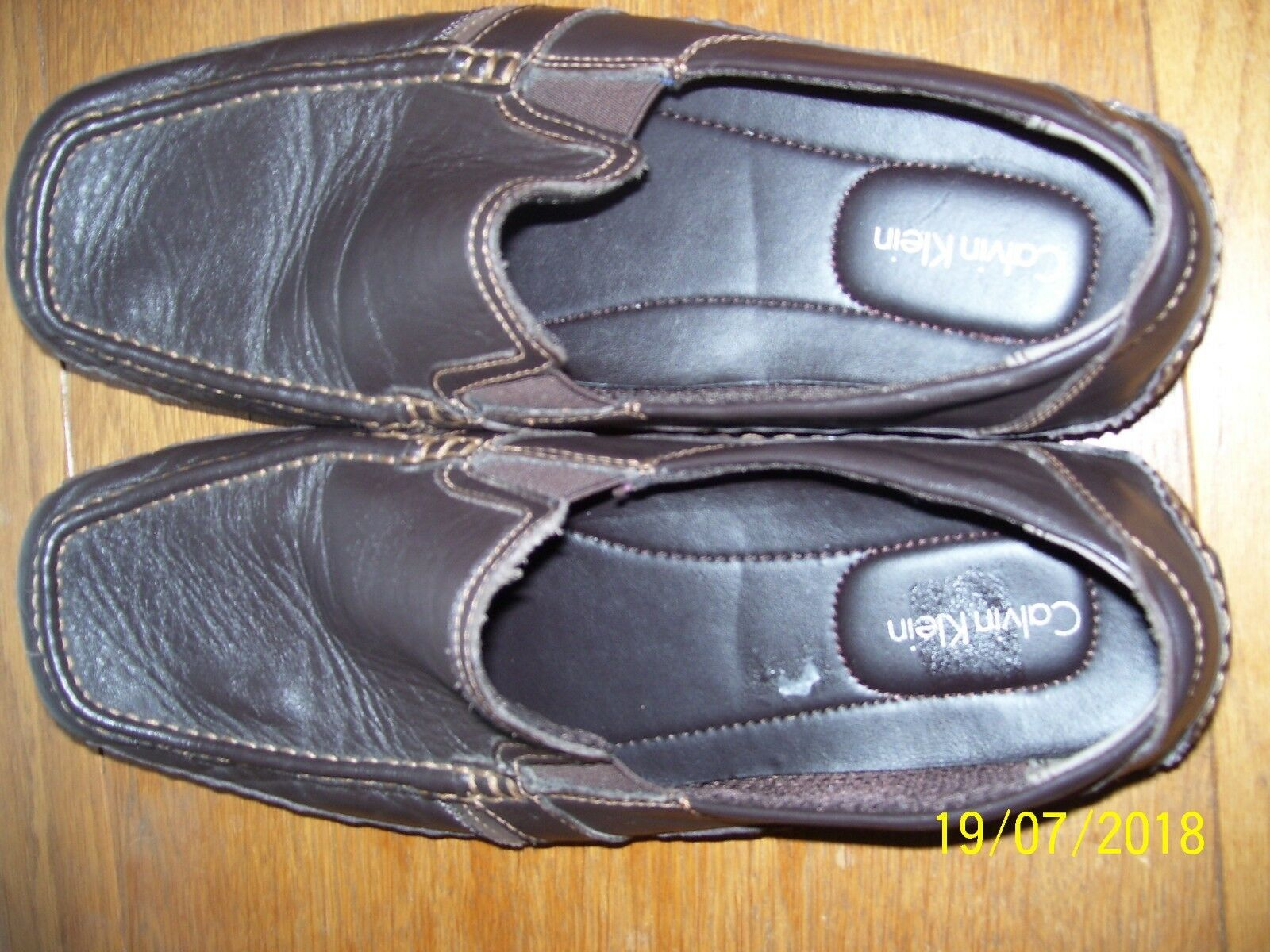 PAIR OF  Herren CALVIN KLEIN MULLY NAPPA BROWN M, LEATHER Schuhe SIZE 13 M, BROWN LOAFERS  FS 1ee7bd
