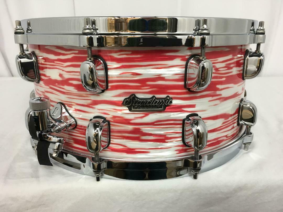 Tama Starclassic Maple 13  Diameter X 6  Deep Snare Drum rot & Weiß Oyster