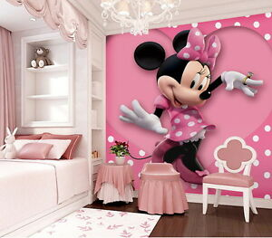 Image Is Loading Pink Minnie Mouse Heart Dot Wallpaper Wall Decals