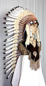 Indianer Federhaube XL 100 cm.Kopfschmuck weiße Federn gepunktet Federschmuck