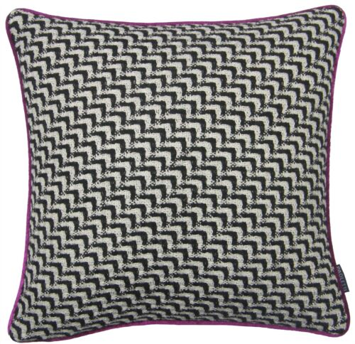 """WOOL BLEND KNITTED PINK BLACK WHITE FAUX SILK CUSHION COVER 18/"""" 45CM #ONOM"""