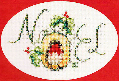 Derwentwater Designs Christmas Cross Stitch Card Kit - Noel Robin