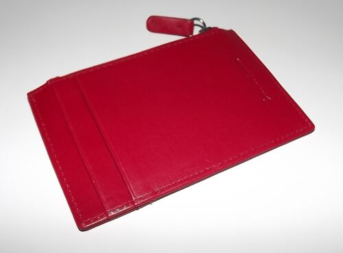 NEW ITALIA LEATHER WOMEN/'S RFID PROTECTED SLIM CARD CASE ID WALLET RED