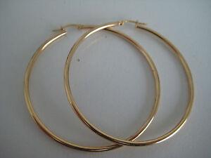 Grande-Dorada-Pendiente-de-aro-oro-amarillo-de-9-Quilates-TUBO-50mm-diametro