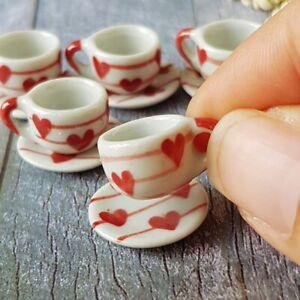 10 Pink Mini Ceramic Coffee Tea Cup Saucers Dollhouse Miniatures Wholesale Lot