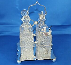 Antique-GM-amp-S-Silver-Plated-Crystal-Cut-Glass-Cruet-Condiment-Set-EPNS-Stand
