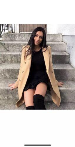 Coat Uk Masculine Size Camel Breasted Smart Zara Bnwt Double 14 Xl 16 wxfqXA