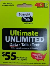 Straight Talk Rob Refill 45 Dollar Card 30 Day Prepaid Unlimited Service