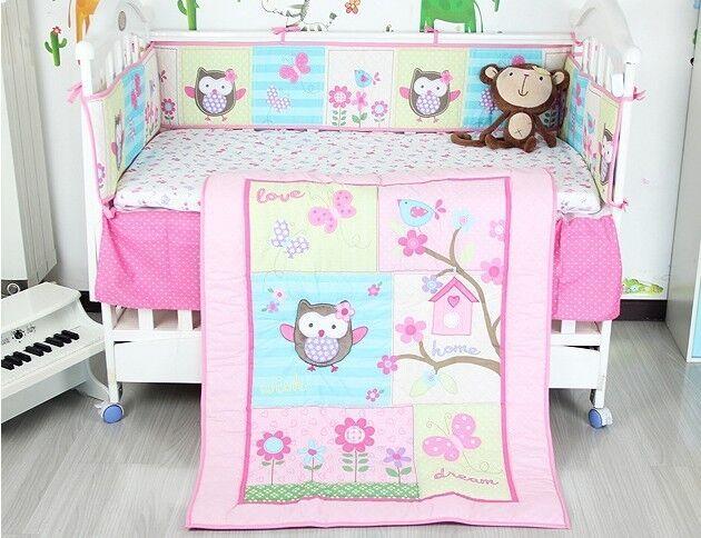 Baby Nursery 8p Crib Bedding Set Lovely Owl & Butterfly Christmas Winter Gift