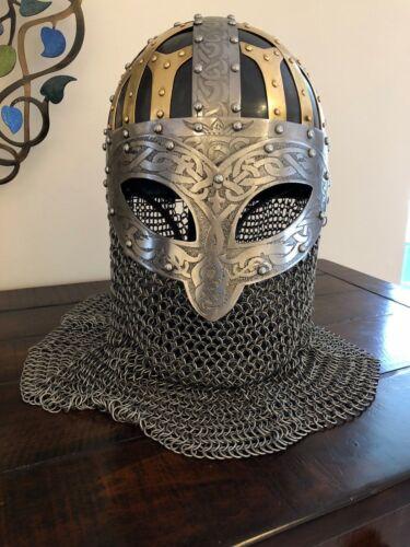 Medieval Vikingo Casco vendal Acero de calibre 16 /& Casco con casco de correo de Cadena de Latón