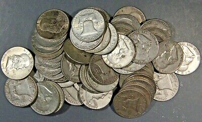 $3 FACE VALUE FRANKLIN HALF DOLLARS 90/% SILVER LOT OF 6 COINS